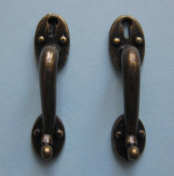 1/12th Scale Dolls\' House Antique Brass Shop Door Handles