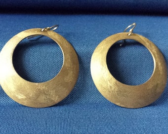 Vintage 925 gold-plated sterling silver Hoop Earrings with Gold brushed finish