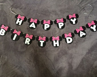 Disney Minnie Mouse Happy Birthday Banner. Polka Dot, Red, Light Pink or Zebra Bows. Can be personalized with name/age.  Free Shipping!!!