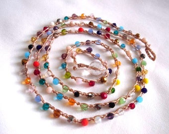 Crochet Wrap Bead Necklace, Crochet Bracelet, Bohemian Summer Jewelry, Boho Chic,  Surfer Jewelry, Multicolor Beads,  Multicolor Jewelry