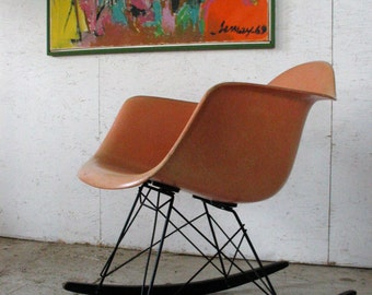 Superior Herman Miller Eames Fiberglass Armshell Rocking Chair Venice California  Label, Vintage Eames Chair Rocker