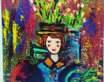 Acrylic mini painting/ original artwork/with black easel