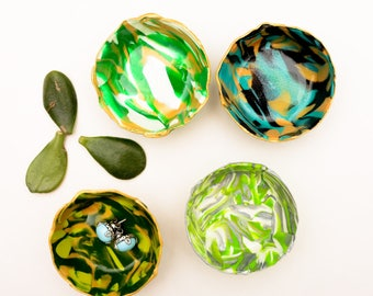 Marbled Ring Dish - Set of 4 - Polymer Clay Bowl - Tealight Holider - Bridesmaid Gift - Hostess Gift - Housewarming Gift - Green
