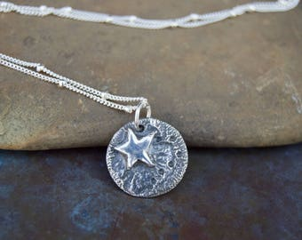 Shooting Star Sterling Silver Rustic Necklace . Rustic . Stamped