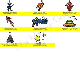 Space machine embroidery designs set of 8