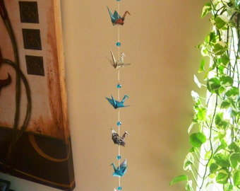 Hanging Origami Cranes chain of 9 FREE SHIPPING black & turquoise blue colorful recycled-upcycled-reclaimed-repurposed paper #c215 marlisa