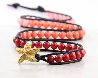 Coral Boho Bracelet Red Pink Beaded Wrap Ombre Black Leather Wrap Bracelet Beach Jewelry Starfish Bracelet Bohemian Jewelry Summer Fashion