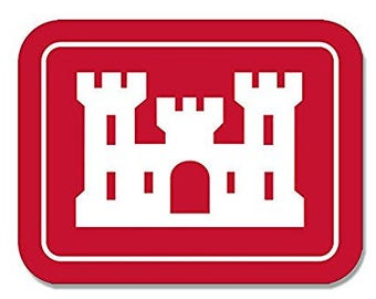 Rectangular ARMY CORPS of ENGINEERS Logo Sticker (insignia castle decal)