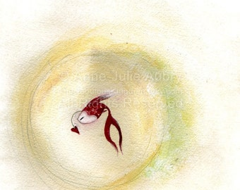 Little Red Fish - open edition print - Whimsical Art