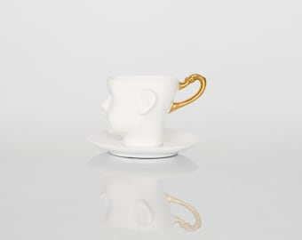 Unique coffee cup with saucer-  doll head cup - porcelain cup, ceramic white and gold artisan cup by endesign