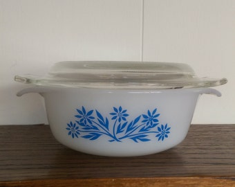 Anchor Hocking Fire King 12 oz Casserole Dish w/ Lid #472 Blue Corn Flower