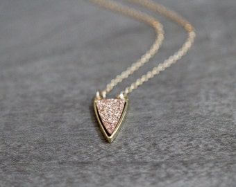 Druzy Triangle Necklace , Rose Gold Druzy Quartz and Gold Bezel Pendant Necklace, Boho Layering - Finn ( As Seen On Quantico )