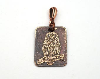 Owl on branch pendant, small rectangular flat copper jewelry, etched metal, optional necklace, 25mm