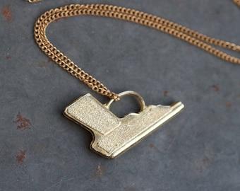 Challenge to a Duel Necklace - Pistol Pendant on Chain - Golden Gun Pendant on Chain - Miniature Handgun