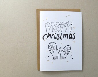 Merry Christmas card - set of 5 -print version - design by ZIZOlabel - blackandwhite - wintergloves - handlettering