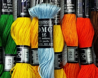 DMC Coton a broder/Brilliant cutwork thread, size 16, various colors, broder spécial, embroidery cotton