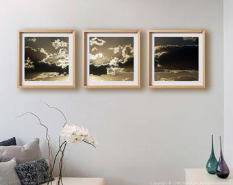 Sunset Triptych.  Sunset photography, mountains, clouds, abstract, wall art, artwork, large format photo.