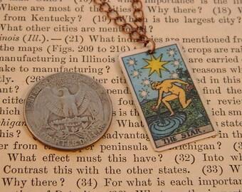 Tarot pendant tarot jewelry The Star minimalist jewelry mixed media jewelry