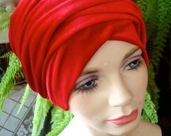womens turban red velvet headwrap headcover chemo gift stylish chemo hat