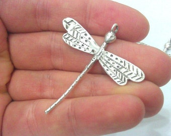 2 Silver Pendant Antique Silver Plated Brass Dragonfly Pendant 2 Pcs.  G2121
