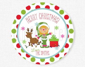 Christmas Gift Tags, Christmas Elf Tag, Merry Christmas Tag, Girl Elf Tags, Holiday Treat Tag, Personalized