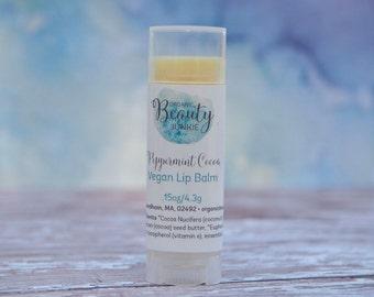 Lip Balm - Vegan Lip Balm -All Natural Lip Balm - Vegan Chapstick - Peppermint Cocoa Lip Balm - Organic Wedding Favor  - Vegan Wedding Favor