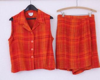 Culotte Set in Burnt Orange Gingham  Sleeveless Blouse  Large