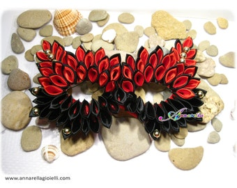 Maschera Carnevale di Venezia, kanzashi, fashion, mask, red, black, glam, round