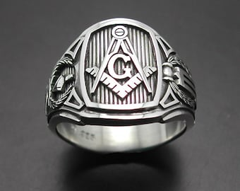 Masonic Ring for Men in Sterling Silver ~ Cigar Band Style 026
