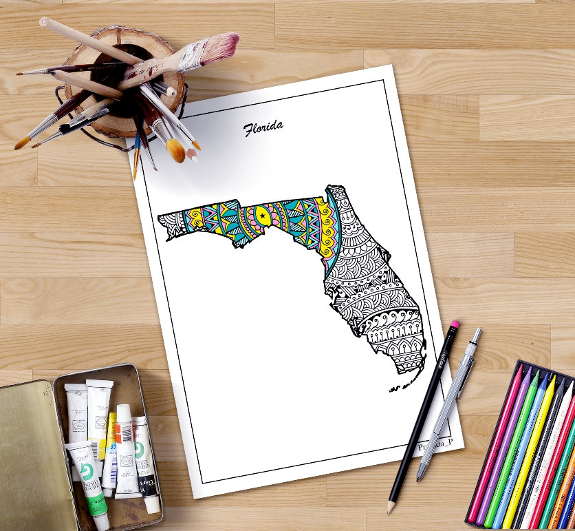 zoom florida map coloring page for adults