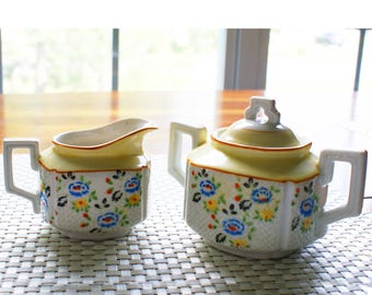 Vintage Hand Painted Japanese Trico Sugar and Creamer Set