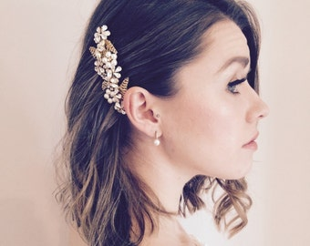 Bridal Hair Comb, Gold Leaf Hair Comb, Flower Hair Comb, Crystal Hair Comb