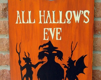 Hand painted Halloween art, witch, devils , All Hallows eve!
