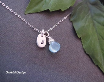 Birthstone Necklace, Initial Necklace, Personalized Necklace, Minimalist Necklace, Aquamarine Necklace, March Birthstone, Custom Jewelry,