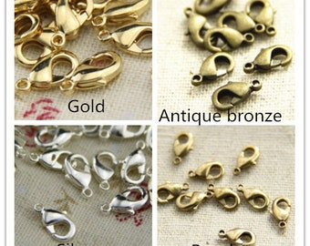 24pcs of brass lobster chain clasp-10mm-4917-18k gold/silver/antique bronze/raw brass