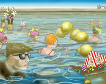 Funny swimmers greetings card: 'The Silly Hat Swim' - Clevedon Sea and Lake Swimmers, a cold water dip