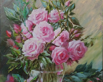 Pink flower painting oil Pink Rose painting Still life oil painting canvas Wife birthday gift for girlfriend gift Floral painting Women gift