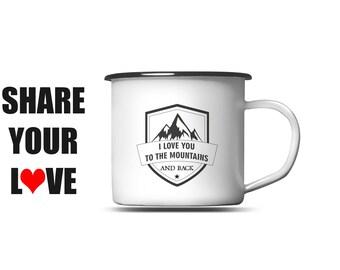 Mountain Camping Mug - Mountains Enamel Mug - Hiking Mug Cup - Mountains Range Mug - Mountains Mugs