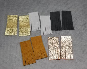 Suede and Metallic Fringe, Earring Making Leather Fringe, 5 Pairs of Leather Fringe, 10 pieces, Leather Fringe for Earrings