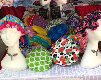 Custom order Shower caps, bath hats, gift for her, ladies gift, OOAK, bath gift, shower cap beauty gift
