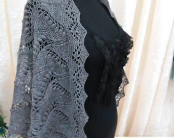 OOAK Lace Wool Shawl Scarf Stole Wrap -  handknit