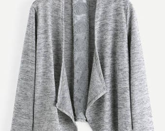 Gray Open Front Cardigan With Lace Crochet Detail