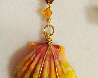 Sunrise Shell, Gold Filled Wire, Stunning Swarovski Crystals