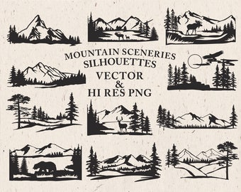 Hand Drawn Mountain Scenery Clipart - Mountain Scenery Silhouette Clipart Mountain Clip art PNG Vector EPS AI Design Elements Download