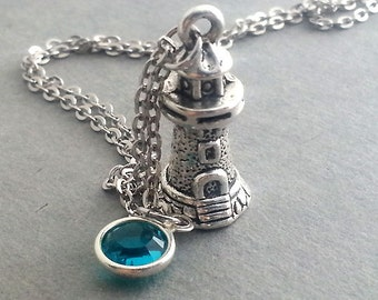 Silver Lighthouse Necklace. Personalized Necklace. Birthstone Necklace. Lighthouse Pendant