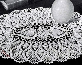 "Oval Pineapple Doily, 8"" X 12"", Vintage Crochet Pattern, INSTANT DOWNLOAD PDF"