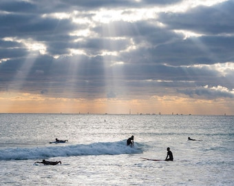 Miami Beach Sunrise Surfers, Miami Photography, Surf photography, Miami Print, Surf Print, Miami Art, Surf Art, Beach Print
