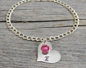 Hand Stamped Jewelry - Personalized Jewelry - Mom Bracelet - Sterling Silver Charm Bracelet - 1 to 8 heart charms -  Initial and Birthstone