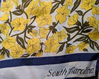 1960s // SOUTH CAROLINA // Vintage Abstract Floral and Striped Scarf