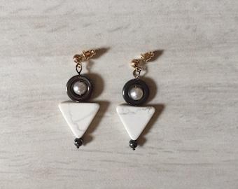 geometric triangle stone eargs | dangle earrings | howlite stones, hematite circles and onyx beads